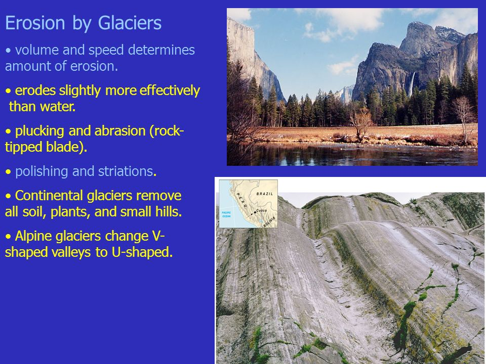 soil and glaciers A glacier can leave multiple types of holes or impressions in theland a cirque, valley, hanging valley, horn, and a fjord are thetypes of holes left behind by a glacier.