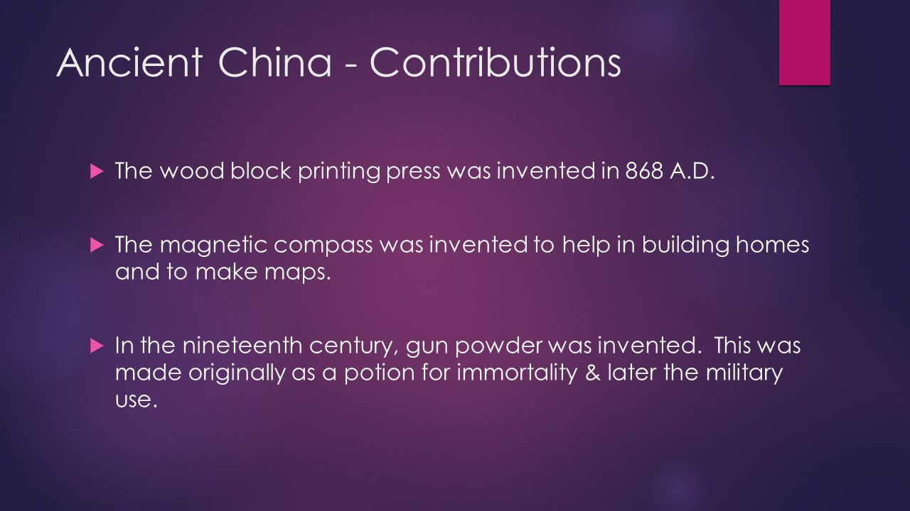 acient chinese contributions