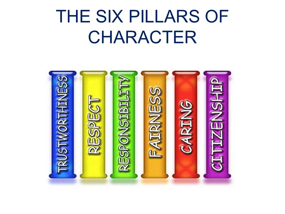 the six pillars of character Students discover the vocabulary of the six pillars of character and their relation to the school environment for this character education lesson, students discuss the character pillars and brainstorm about their use in the classroom.