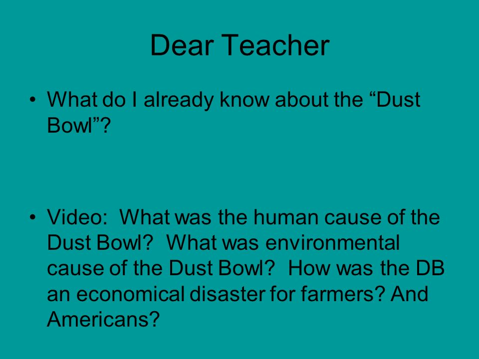 the dust bowl essay In the 1930's many people were devastated by vast dust storms many people suffered from them in kansas, colorado, new mexico, oklahoma, and texas and some people even died.