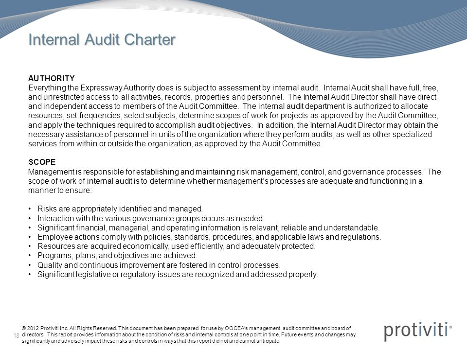 internal audit example As the internal audit manager i find waste and the best uses for company resources i also investigate procedures and protocols to ensure all departments are following local.