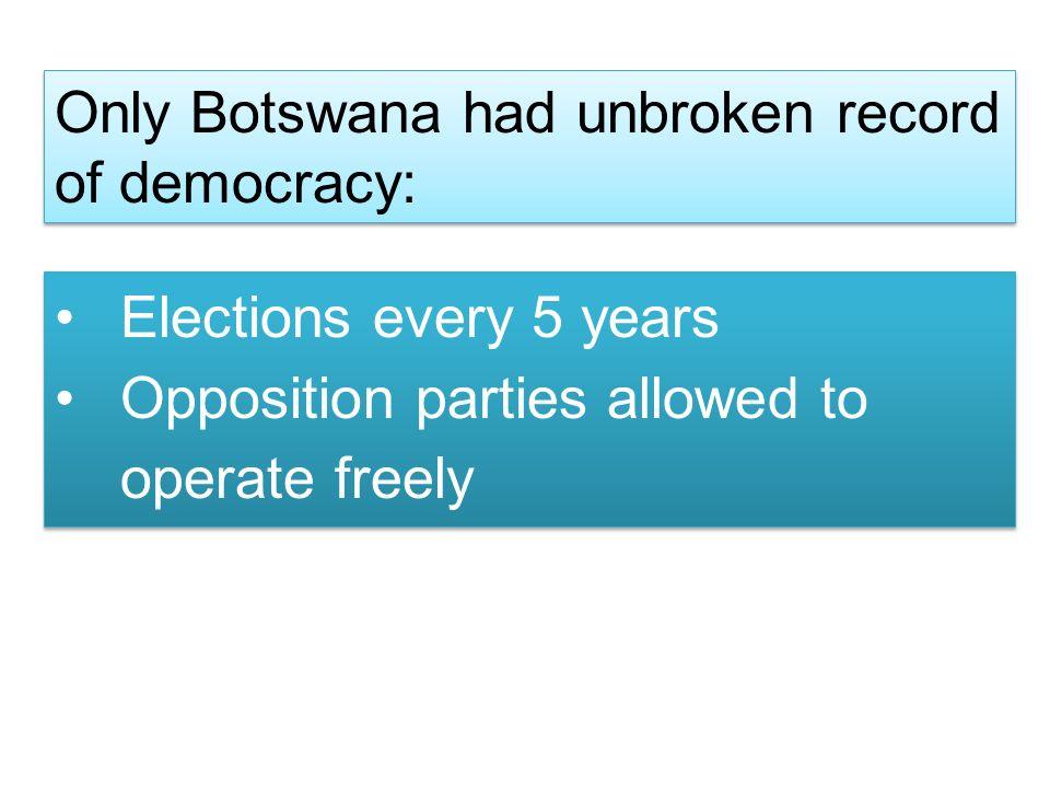 Only Botswana had unbroken record of democracy: