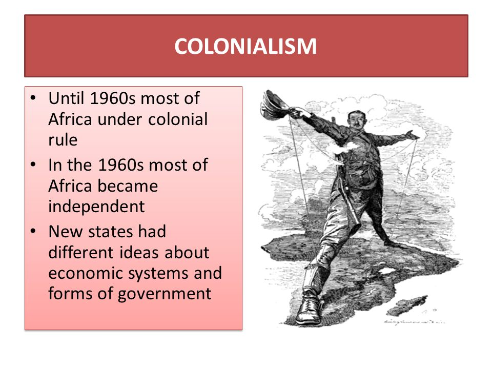 COLONIALISM Until 1960s most of Africa under colonial rule