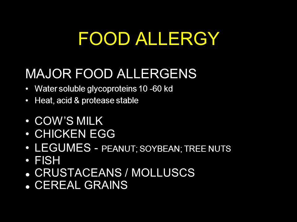 FOOD ALLERGY MAJOR FOOD ALLERGENS COW'S MILK CHICKEN EGG