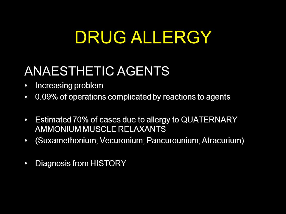 DRUG ALLERGY ANAESTHETIC AGENTS Increasing problem