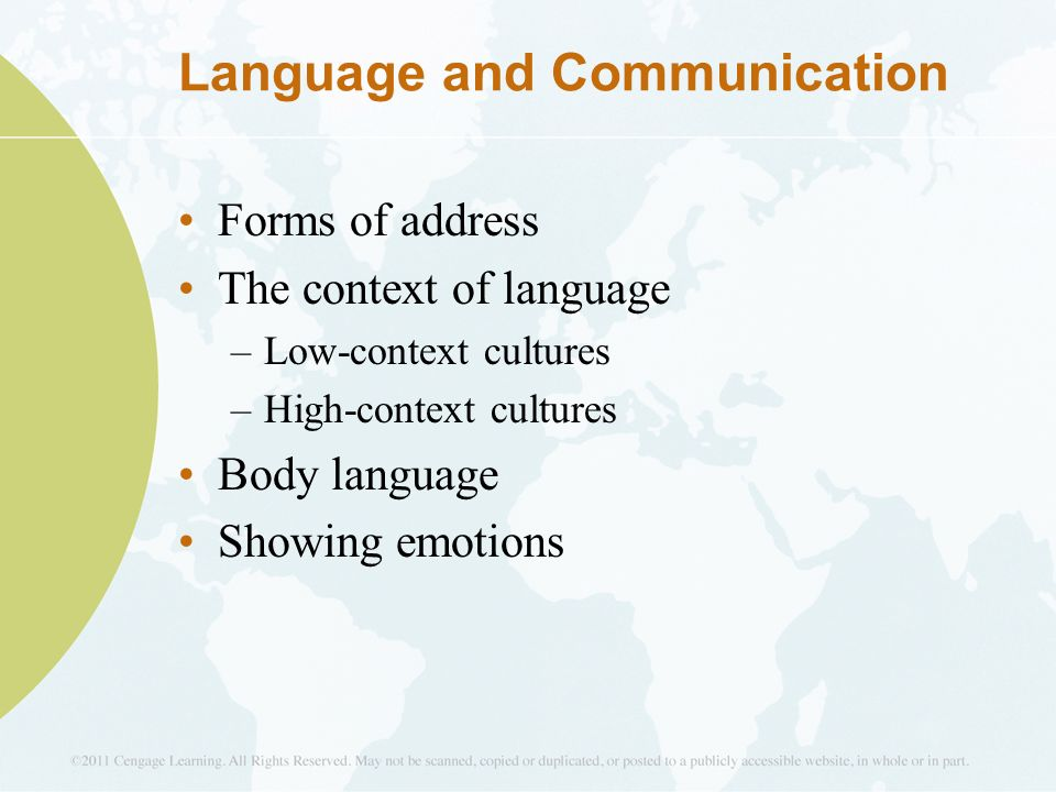 language in cultural context Identify some of the ways in which language varies based on cultural context  explain the role that accommodation and code-switching play in communication.
