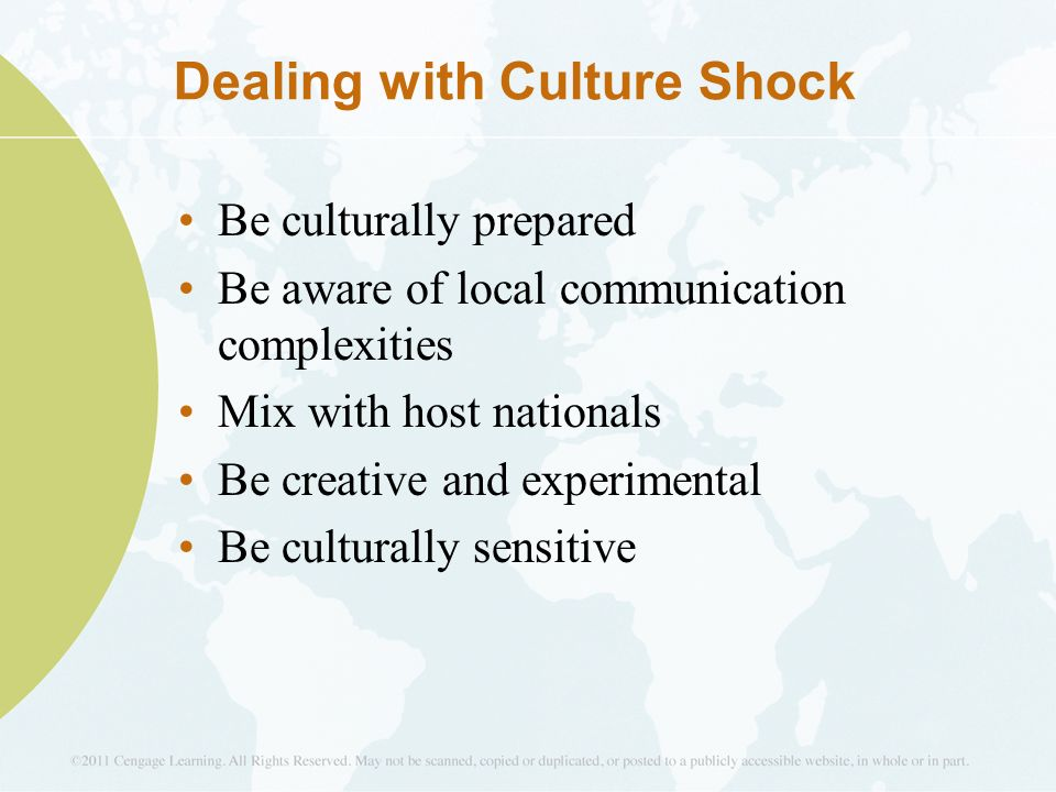 coping with culture shock In a working culture where overseas assignments may be career-defining, the ability to cope with culture shock can be significant factor to career advancement culture shock is generally defined as a feeling of disorientation or discomfort due to the unfamiliarity of the environment.