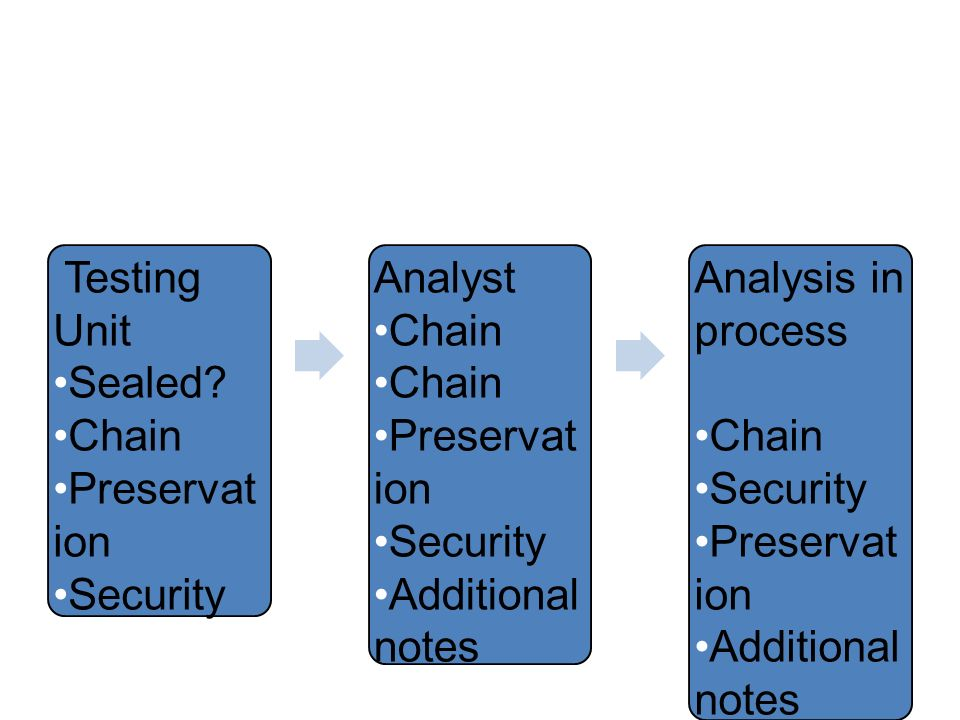 Testing Unit Sealed Chain Preservation Security Analyst Additional notes Analysis in process