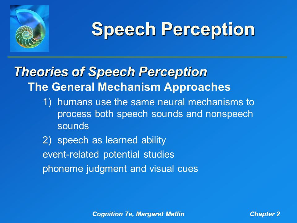 analysis of theoretical approaches to speech perception Theories of speech perception  that are useful in speech production • the analysis of the signal is based on a  • trace is both a theory and a model of.