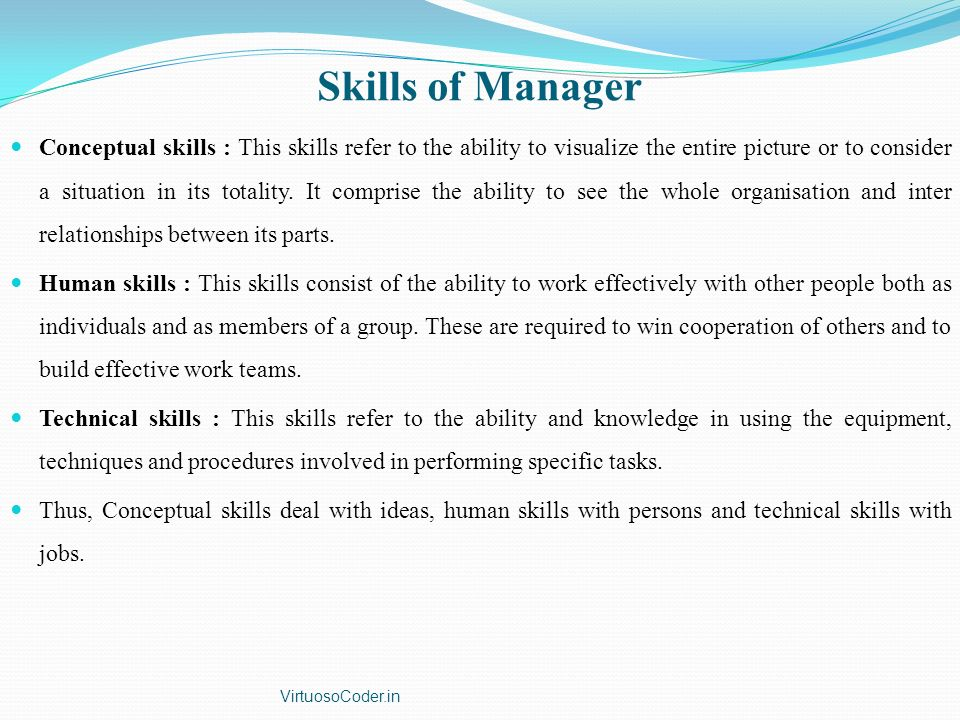Skills of Manager