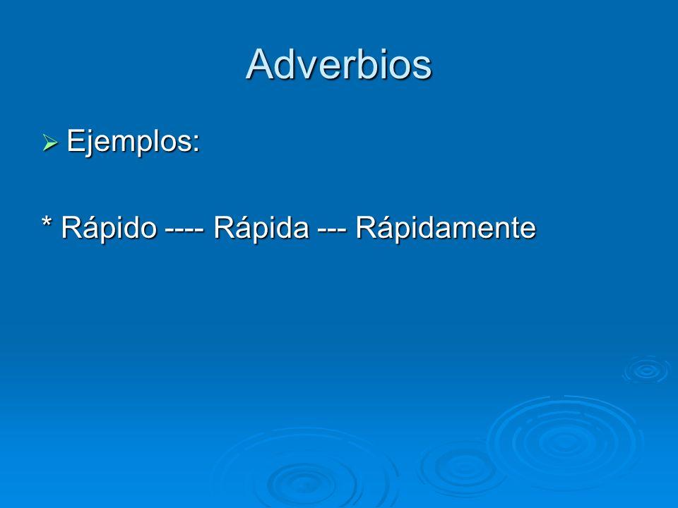 Adverbios Ejemplos: * Rápido ---- Rápida --- Rápidamente