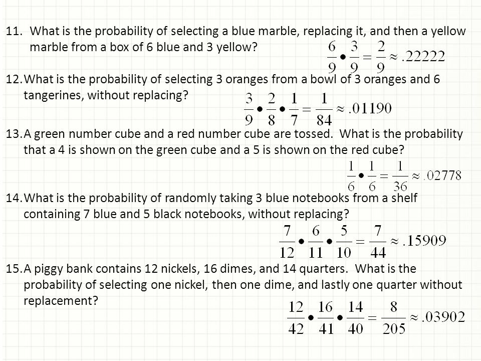 Probability Of Choosing Marbles Without Replacement