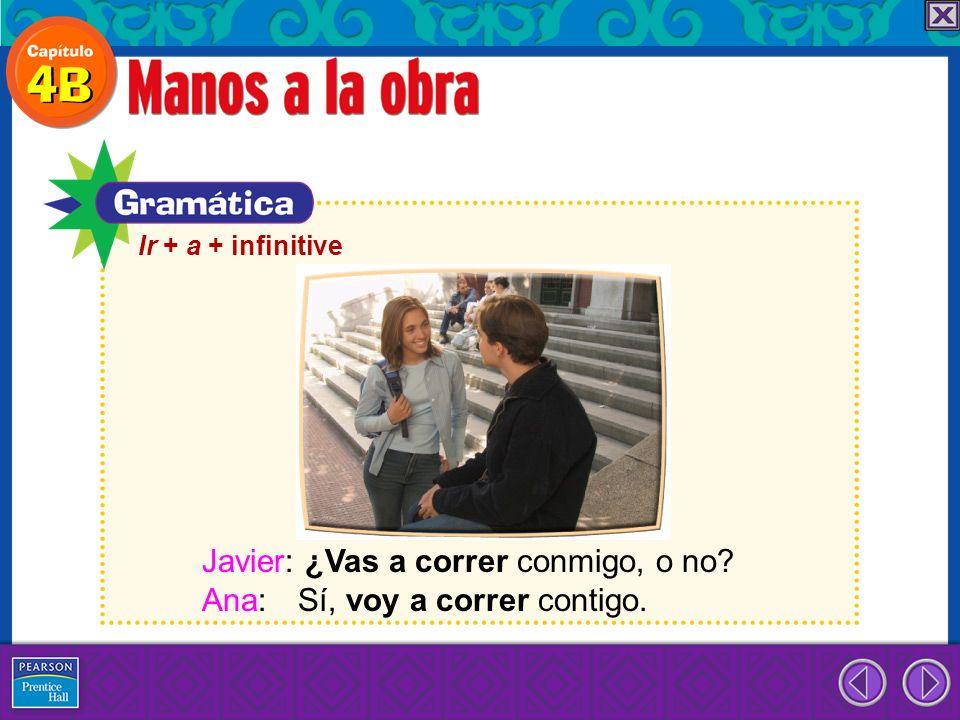 Javier: ¿Vas a correr conmigo, o no Ana: Sí, voy a correr contigo.