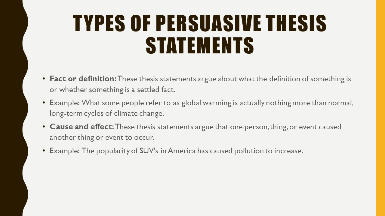 Write a thesis statement for an argumentative essay