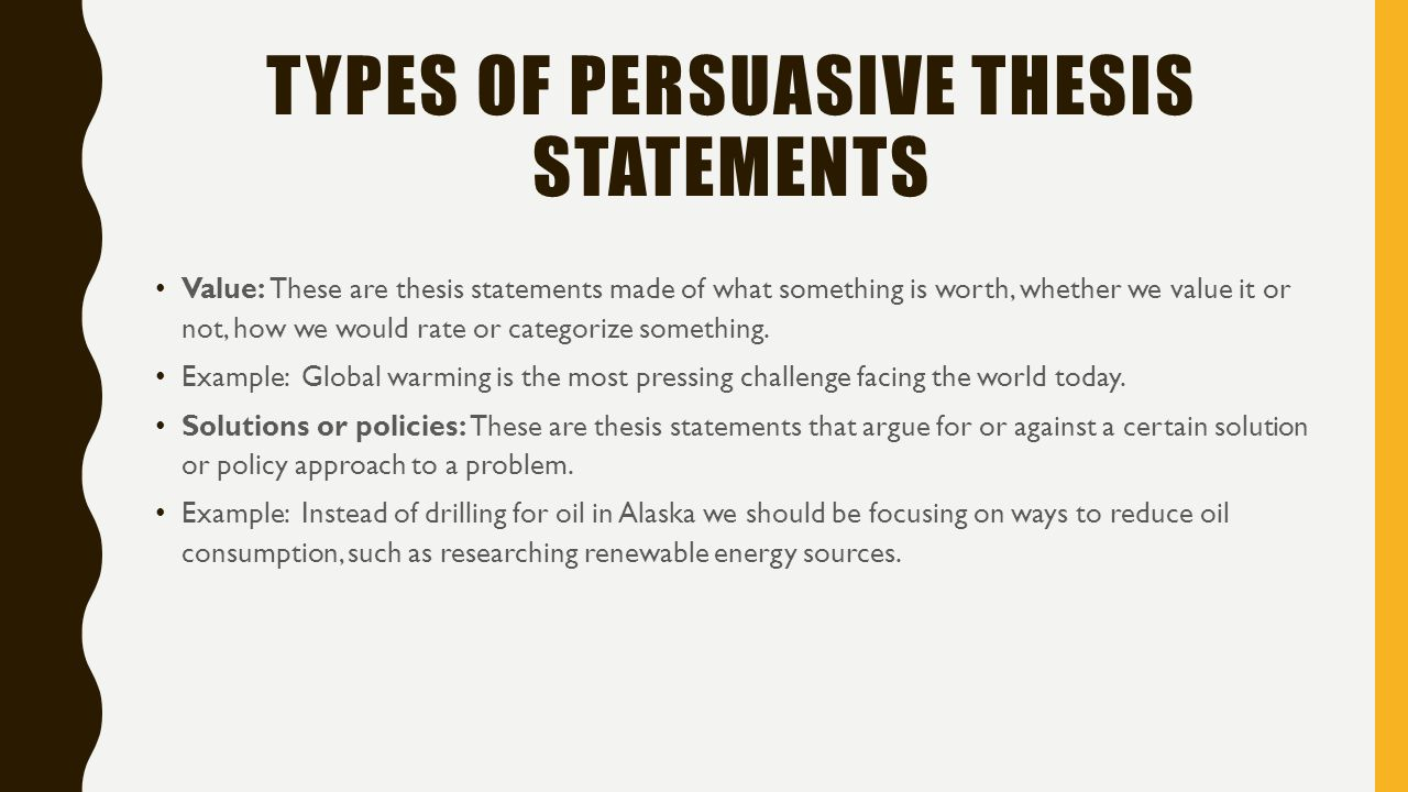 persuasive essays thesis statements