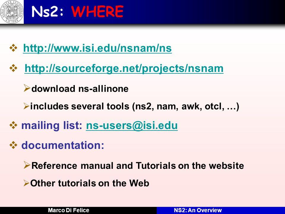 Ns2: WHERE http://www.isi.edu/nsnam/ns