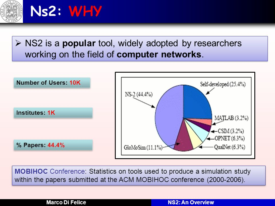 Ns2: WHY NS2 is a popular tool, widely adopted by researchers working on the field of computer networks.