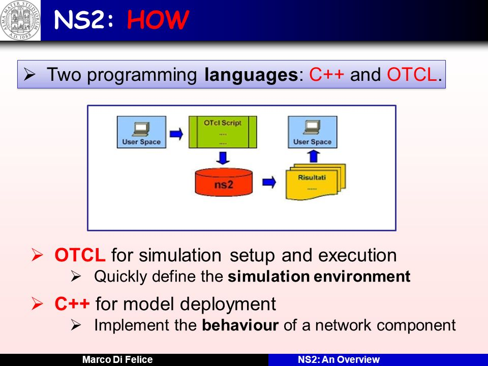NS2: HOW Two programming languages: C++ and OTCL.