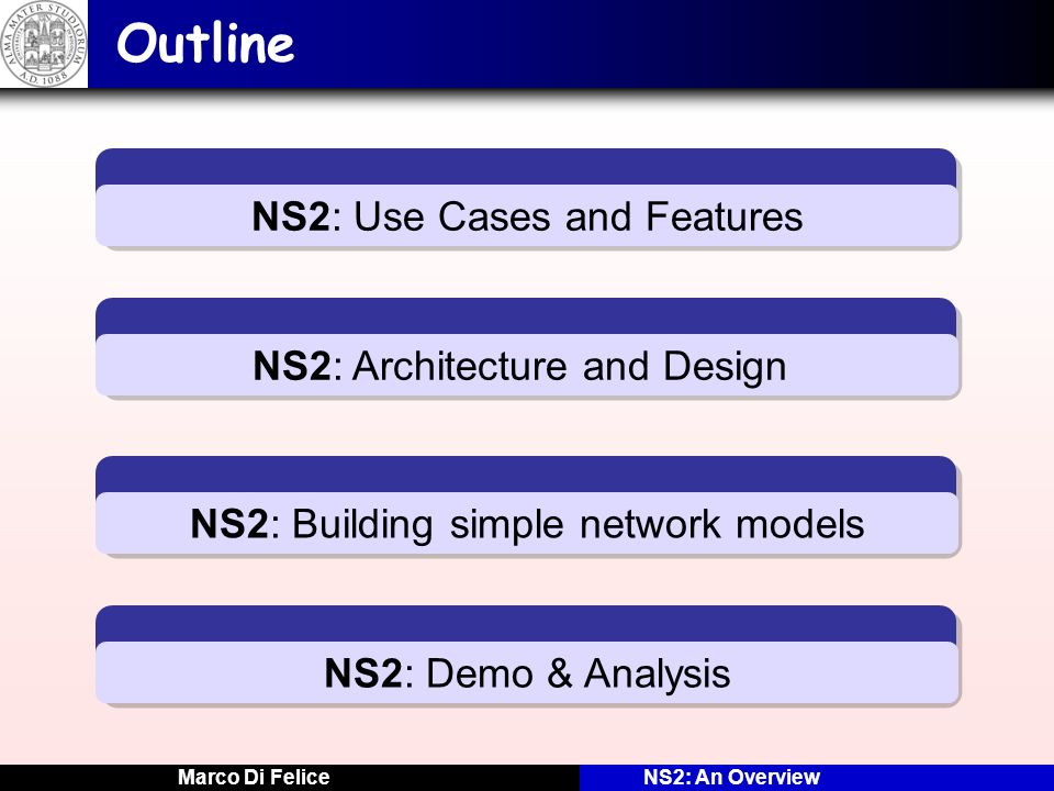 Outline NS2: Use Cases and Features NS2: Architecture and Design