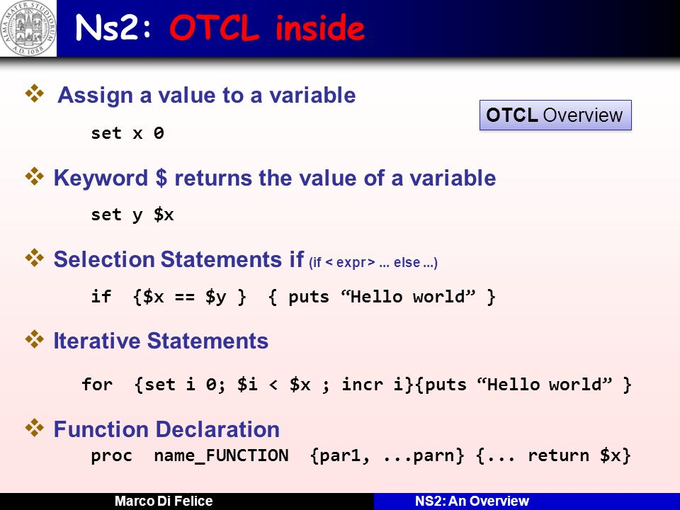 Ns2: OTCL inside Assign a value to a variable