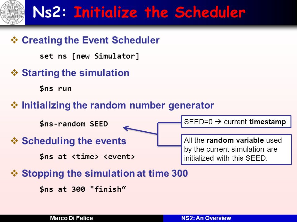 Ns2: Initialize the Scheduler