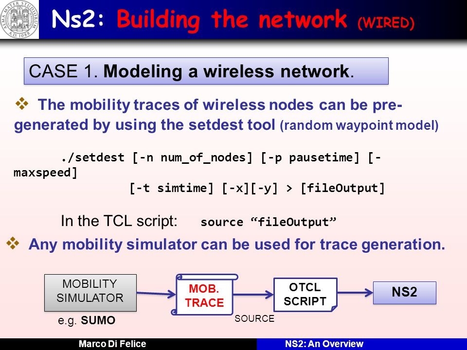 Ns2: Building the network (WIRED)