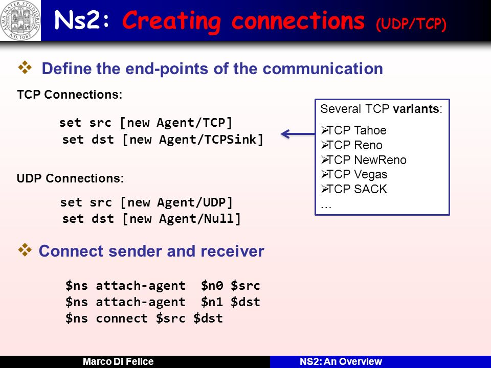 Ns2: Creating connections (UDP/TCP)