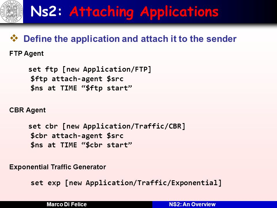 Ns2: Attaching Applications
