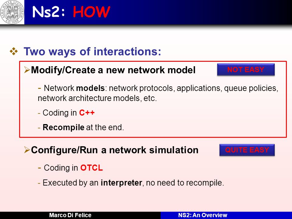 Ns2: HOW Two ways of interactions: Modify/Create a new network model