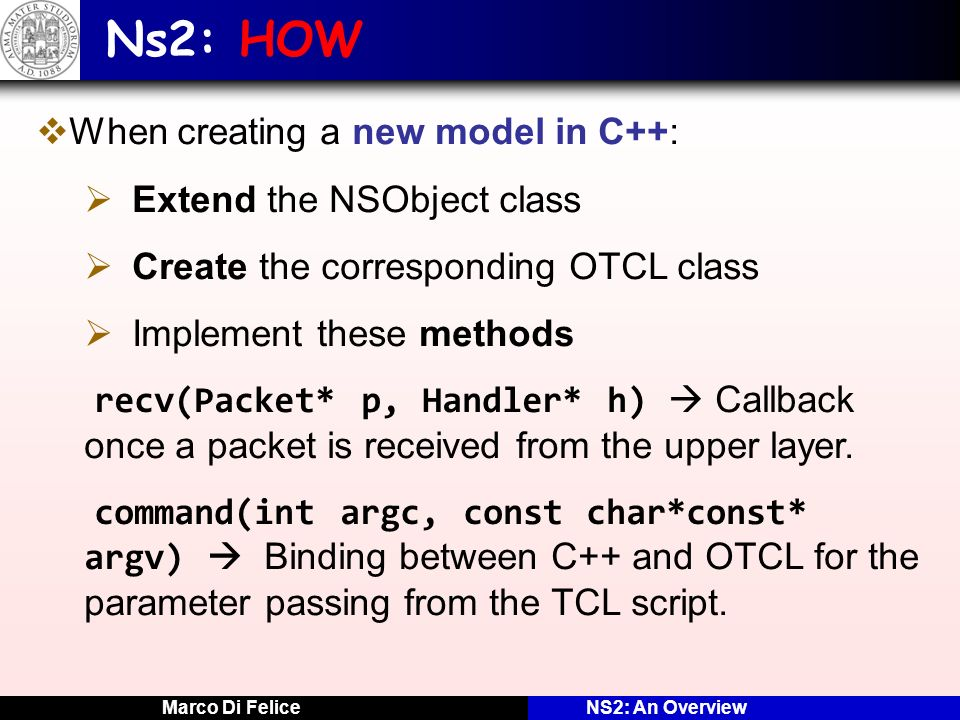 Ns2: HOW When creating a new model in C++: Extend the NSObject class