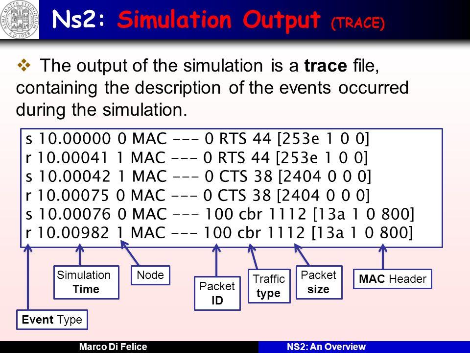 Ns2: Simulation Output (TRACE)