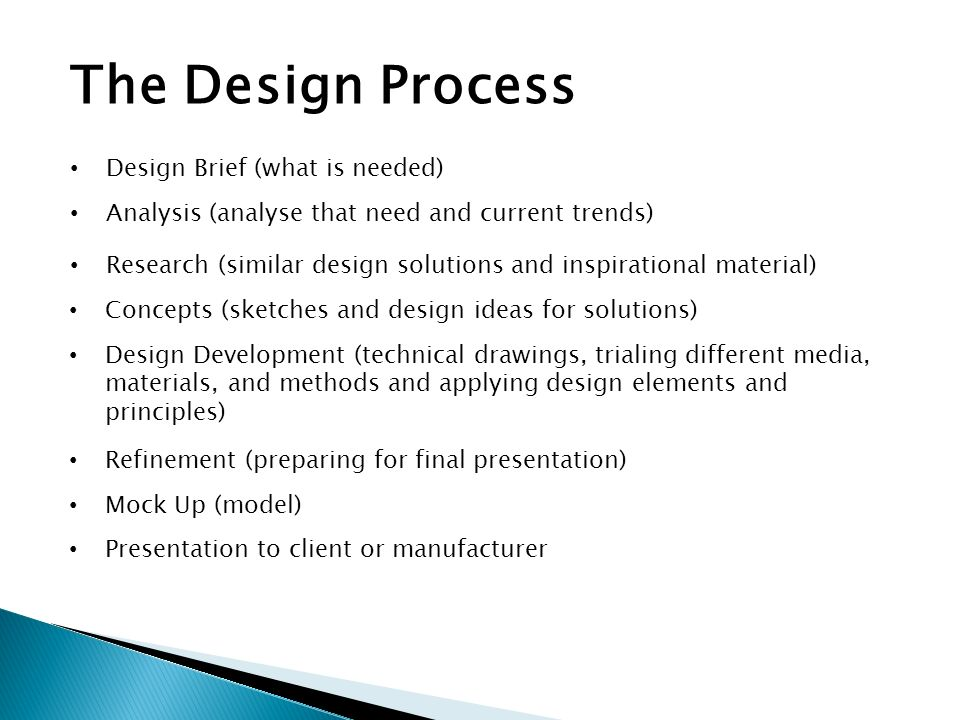 The Design Process Design Brief (what is needed)
