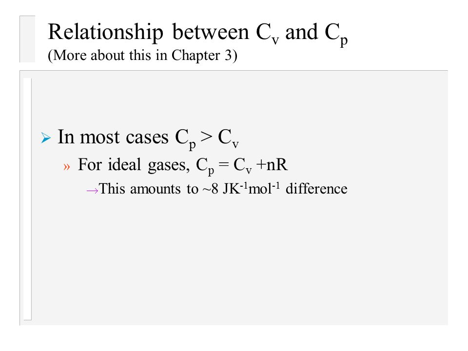 relationship between cp and cv for real gas