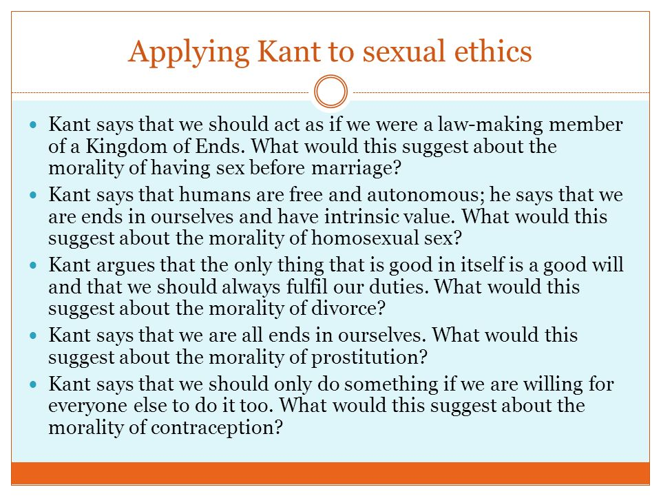 Not pleasant Kantian considerations and sexual morality thanks