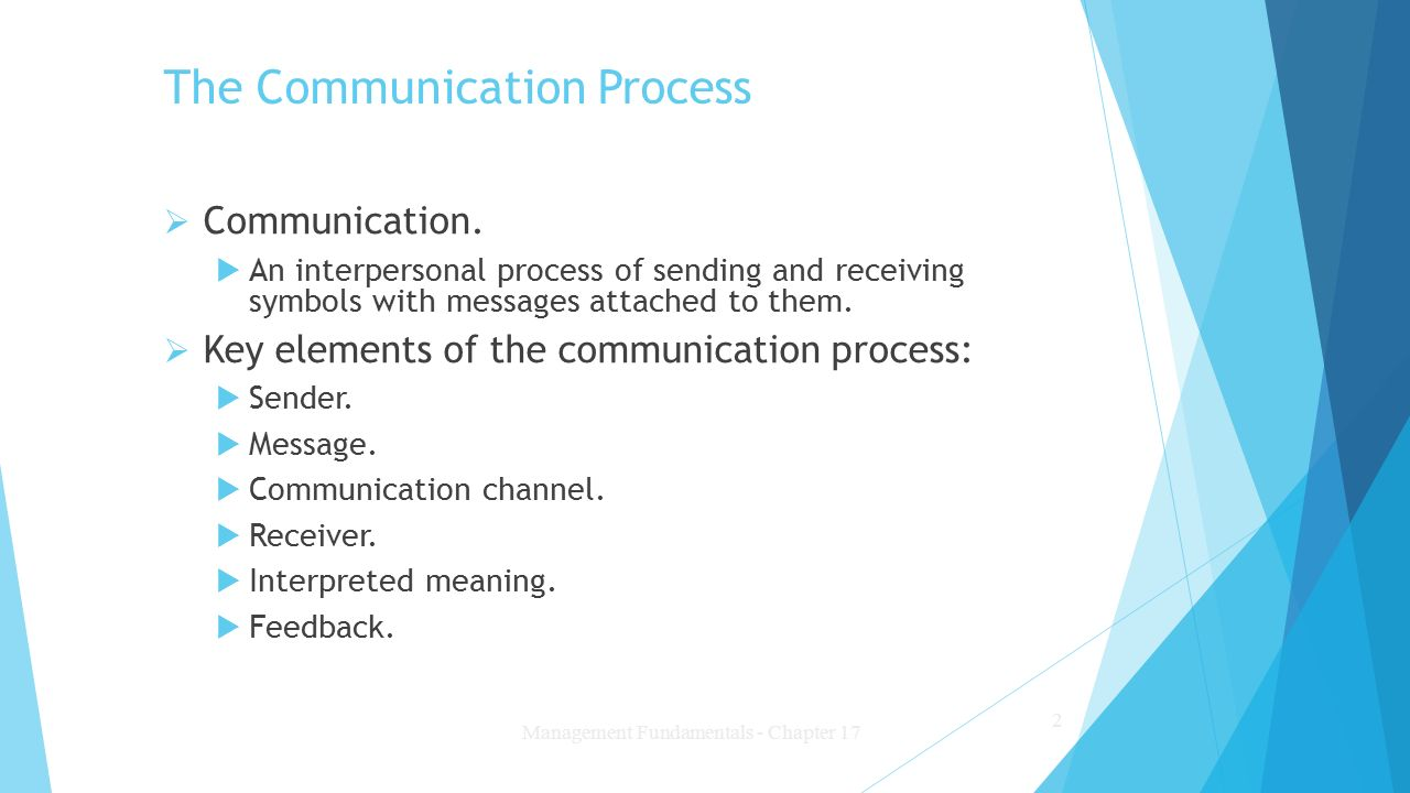 the communication process However, human communication often is a two-way process in which each party shares sending and receiving responsibilities as the quantity of people taking part in a.