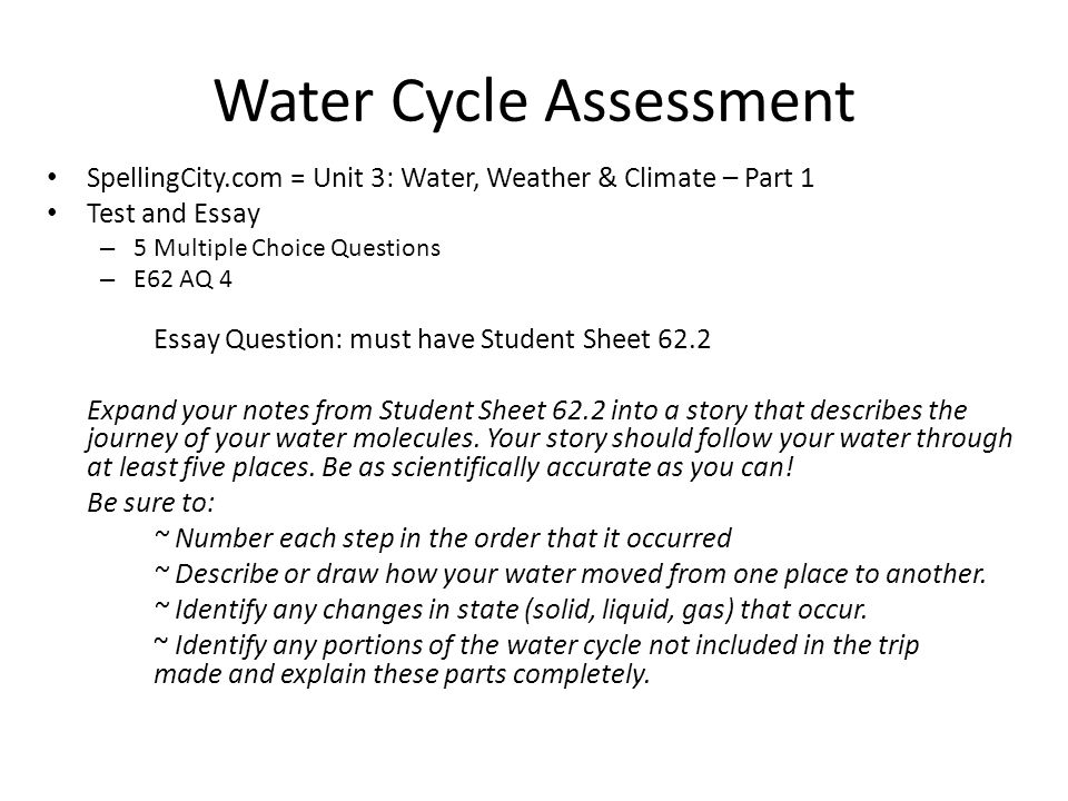 essay on importance of water cycle Different countries use different amounts of water, but we all tend to use them in  the same ways, and some of these actions can impact on the.