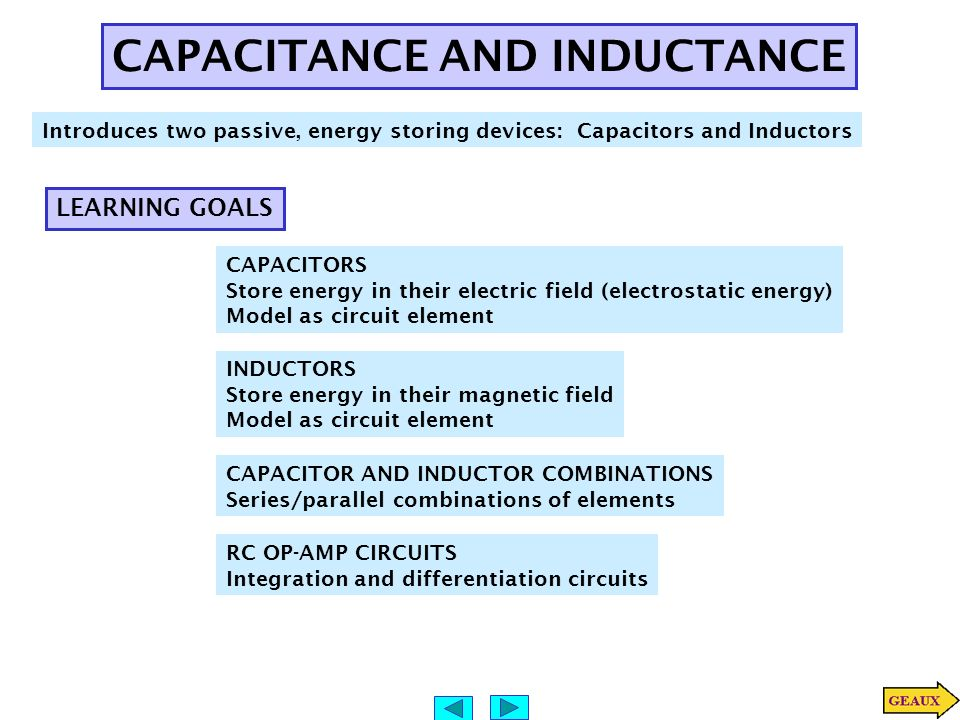 i relationship for inductance and capacitance