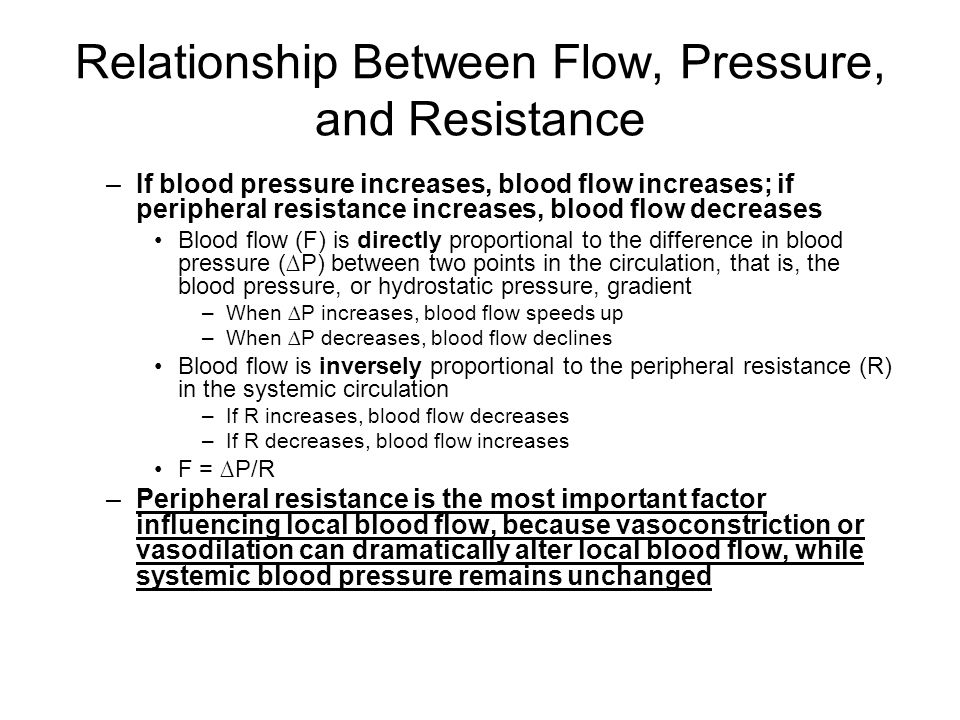 pressure blood flow relationship