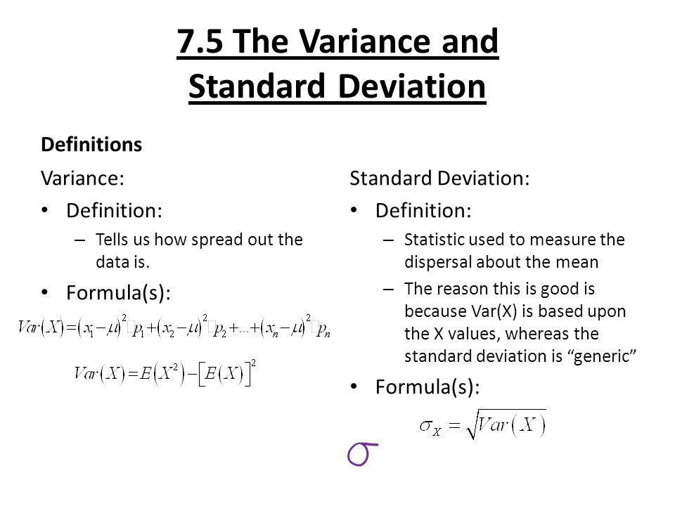 7.5 The Variance And Standard Deviation