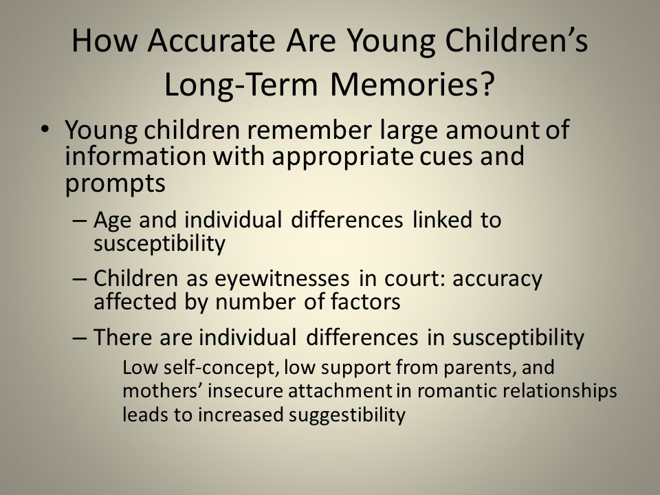 the impact of age and suggestibility on the false memory of children The suggestibility of children's memory  psychiatry, psychology and law,  courtroom concerning the susceptibility of false memory production in children and .