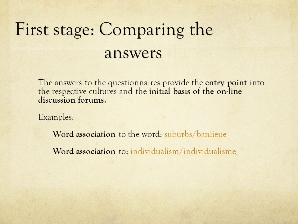 First stage: Comparing the answers the answers