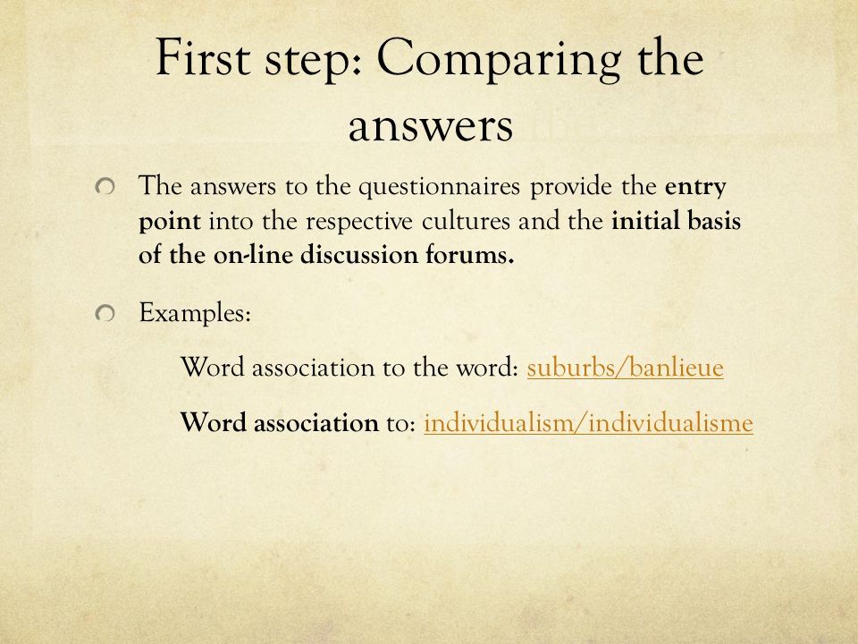 First step: Comparing the answers the