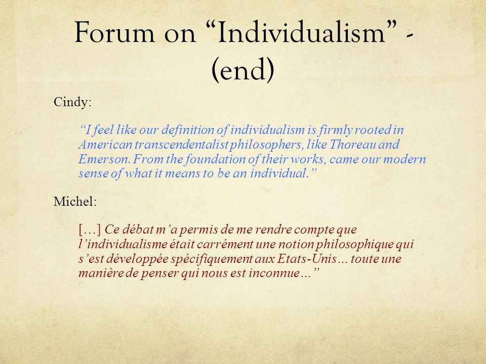 Forum on Individualism - (end)