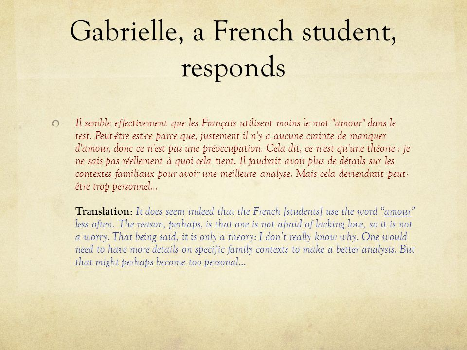 Gabrielle, a French student, responds