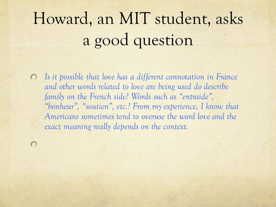 Howard, an MIT student, asks a good question