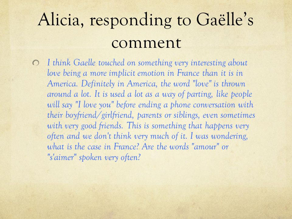 Alicia, responding to Gaëlle's comment