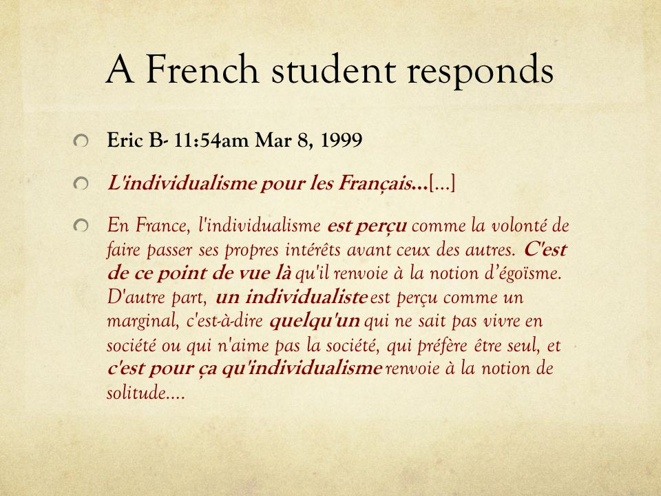 A French student responds