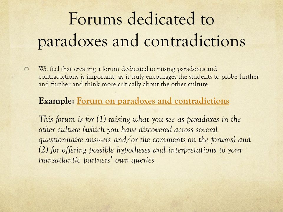 Forums dedicated to paradoxes and contradictions