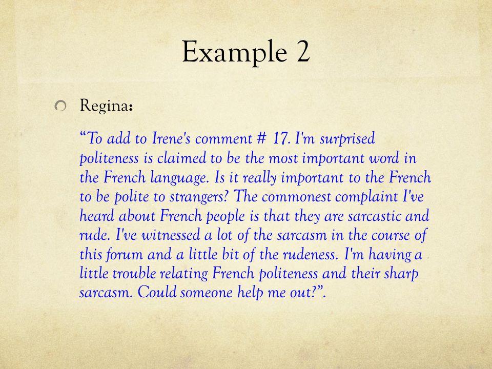 Example 2 Regina: