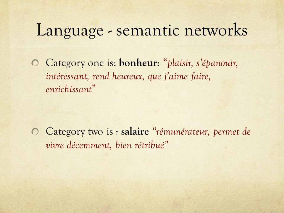 Language - semantic networks